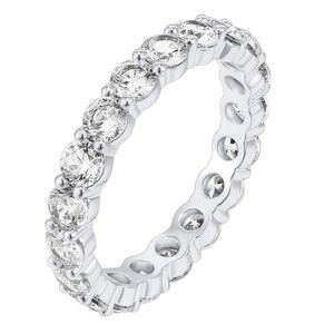 14K white Gold Plated beaded style eternity band